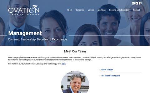 Screenshot of Team Page ovationtravel.com - Management | About Us | Ovation Travel Group - captured Oct. 18, 2018