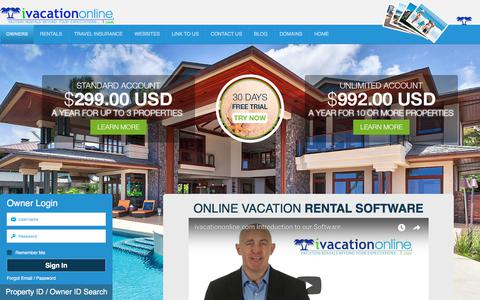 Screenshot of Login Page ivacationonline.com - Vacation Rental Software for Vacation Property Management--ivacationonline - captured July 9, 2018