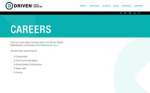 Screenshot of Jobs Page drivendigitalmarketing.com - Careers   Driven Digital Marketing - captured Nov. 19, 2018