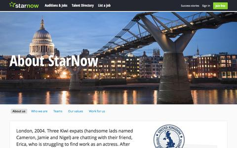 Screenshot of About Page starnow.com - About Us   StarNow - captured Nov. 21, 2016