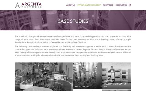 Screenshot of Case Studies Page argentalp.com - Case Studies – Argenta Partners - captured Dec. 18, 2018