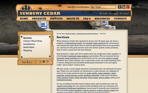 Screenshot of Services Page sunburycedar.com - Services | Sunbury Cedar | Landscaping and Cedar Products - captured Oct. 7, 2014