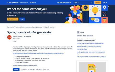 Screenshot of FAQ Page atlassian.com - Syncing calendar with Google calendar - captured Feb. 8, 2020