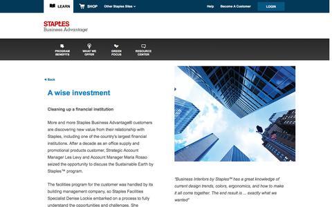 Screenshot of Landing Page staplesadvantage.com - Cleaning Up a Financial Institution - captured April 6, 2016