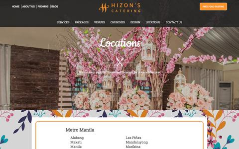 Screenshot of Locations Page hizonscatering.com - Locations | Hizon's Catering - captured July 20, 2018