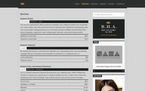 Screenshot of Services Page bespokehairartisans.com - Services - captured Oct. 5, 2014