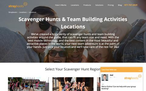 Screenshot of Locations Page strayboots.com - Strayboots - Team Building and Scavenger Hunt Locations - captured Oct. 19, 2018