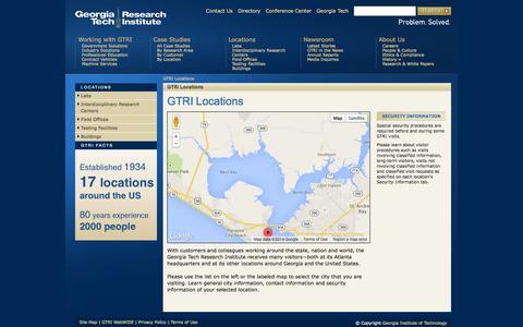 Screenshot of Locations Page gatech.edu - GTRI Locations | Georgia Tech Research Institute - captured Sept. 18, 2014