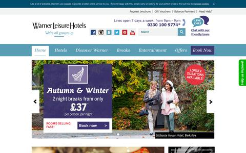 Screenshot of Home Page warnerleisurehotels.co.uk - 2015 Weekend & Midweek UK Hotel Breaks | Warner Leisure Hotels - captured Nov. 13, 2015