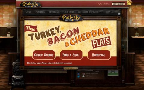 Screenshot of Home Page potbelly.com - Potbelly Sandwich Shop - Good vibes, great sandwiches - captured Sept. 23, 2014