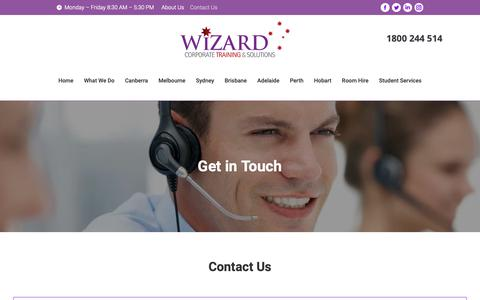 Screenshot of Contact Page wizardcorporatetraining.com.au - Contact Us | Wizard Corporate Training & Solutions - captured Oct. 20, 2018