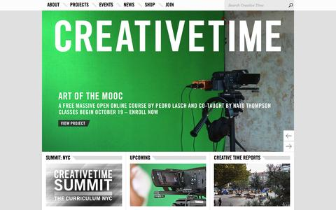 Screenshot of Home Page creativetime.org - Home - Creative Time - captured Oct. 1, 2015