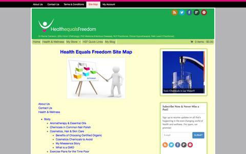 Screenshot of Site Map Page healthequalsfreedom.com - Site Map - Health Equals Freedom - captured Nov. 1, 2014