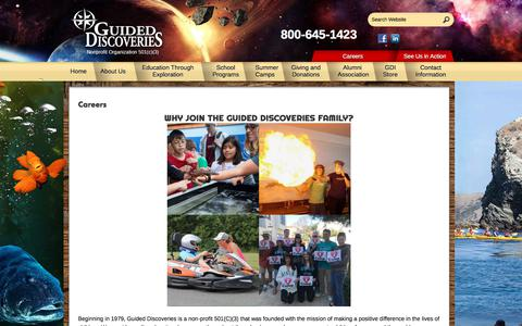 Screenshot of Jobs Page guideddiscoveries.org - Careers - Guided Discoveries - captured July 25, 2018