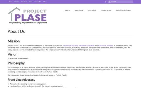 Screenshot of About Page projectplase.org - About Us - Project PLASE, Inc. - captured Nov. 14, 2016