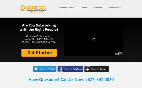 Screenshot of Home Page paccchamber.com - #PACC - The Pro Athlete Chamber of Commerce - captured Jan. 23, 2015
