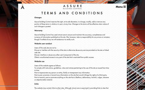 Screenshot of Terms Page assurebuildingcontrol.co.uk - Terms and Conditions | Assure Building Control - captured May 31, 2017