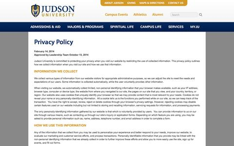 Screenshot of Privacy Page judsonu.edu - ENTER PAGE TITLE HERE | Judson University Christian College - captured Nov. 3, 2014