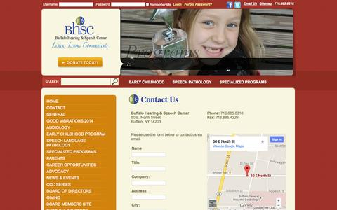 Screenshot of Contact Page askbhsc.org - Contact Us: Buffalo Hearing and Speech - captured Oct. 5, 2014