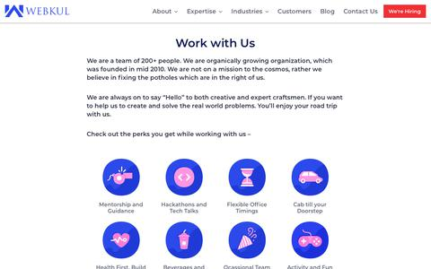 Screenshot of Jobs Page webkul.com - Careers - Webkul Software - captured April 21, 2018