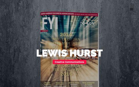 Screenshot of Home Page hcreative.co.nz - Lewis Hurst | H Creative | Graphic Design | Publishing | Magazines | Auckland | NZ - captured Jan. 30, 2015