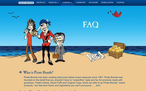Screenshot of FAQ Page piratebrands.com - FAQ | Pirate Brands - captured July 13, 2018