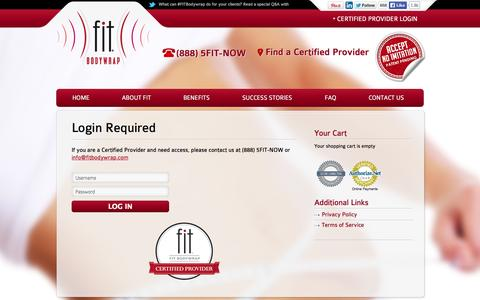Screenshot of Login Page fitbodywrap.com - Login to Certified Provider Resources and On-line Ordering | FIT Bodywrap - captured Sept. 30, 2014