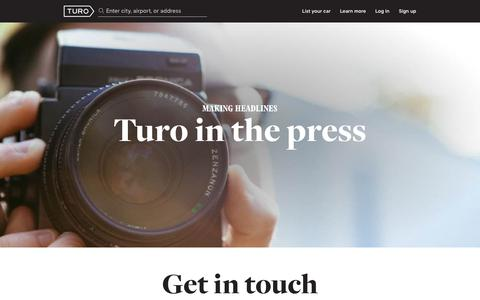 Screenshot of Press Page turo.com - Press, Coverage, Publications and Media Contact Information - captured June 3, 2019