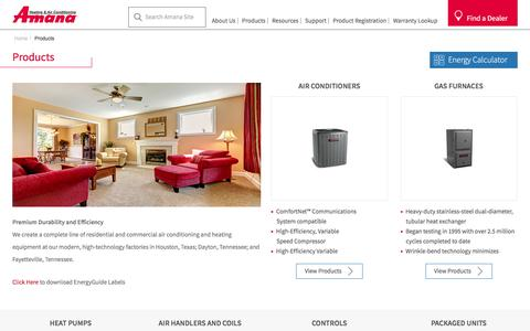 Screenshot of Products Page amana-hac.com - Amana Range Of Residential And Commercial Products - captured Jan. 19, 2016