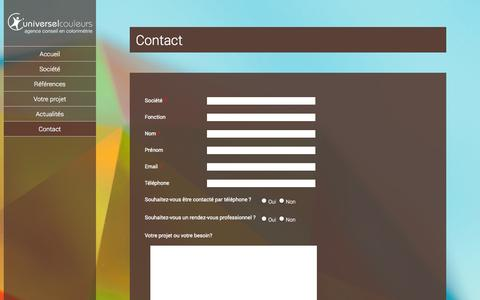 Screenshot of Contact Page universelcouleurs.com - Contact   Universel Couleurs - captured Oct. 7, 2014