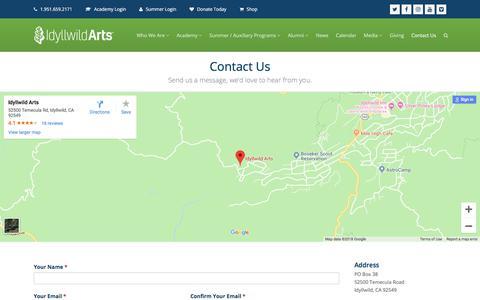 Screenshot of Contact Page idyllwildarts.org - Contact Us   Idyllwild Arts - captured Sept. 25, 2018