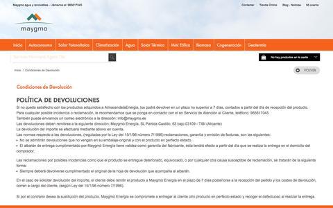 Screenshot of Terms Page maygmo.es - Condiciones de Devolución - maygmo energia agua y renovables, fontanería, calefacción, energia solar térmica, energia solar fotovoltaica, geotermia, biomasa - captured Nov. 28, 2016