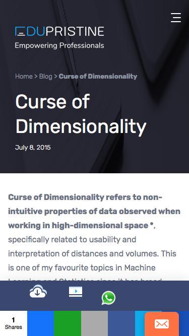 Screenshot of Blog  edupristine.com - Machine Learning: Curse of Dimensionality