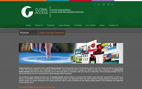 Screenshot of Products Page globalaccess.co.za - Digital Signage Networks - captured Oct. 2, 2014