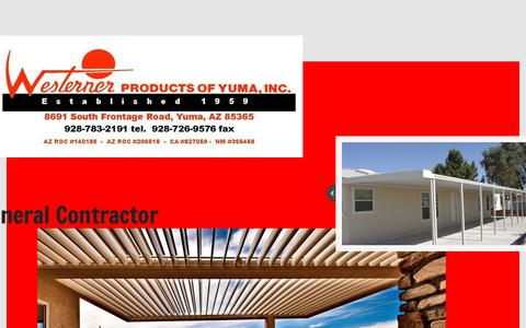Screenshot of Home Page westernerproducts.net - Westerner Products of Yuma, inc. In Yuma, Az - captured Feb. 25, 2016