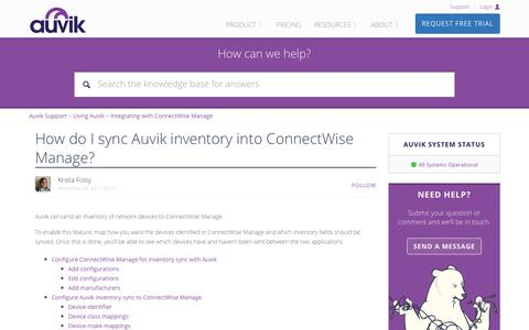 Screenshot of Support Page auvik.com - How do I sync Auvik inventory into ConnectWise Manage? – Auvik Support - captured Nov. 17, 2017