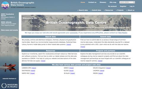 Screenshot of Home Page bodc.ac.uk - British Oceanographic Data Centre (BODC) — oceanographic and marine data - captured Oct. 11, 2017