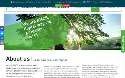 Screenshot of About Page amcsgroup.com - AMCS Group | We are AMCS, digital ways to a cleaner world - captured Jan. 27, 2018
