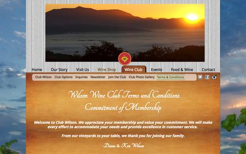 Screenshot of Terms Page wilsonwinery.com - Wilson Winery: Wine Club Terms And Conditions - - captured Sept. 23, 2014