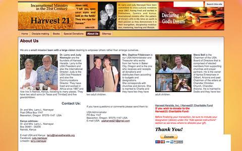 Screenshot of About Page harvest21.org - About Us - Harvest21 - captured Nov. 1, 2014