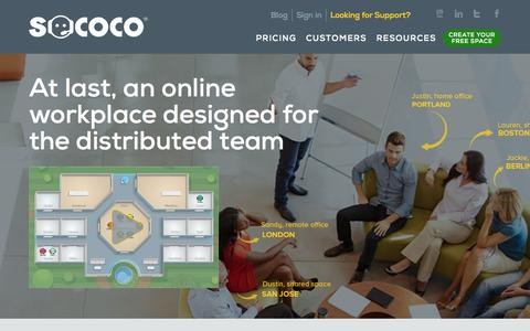 Screenshot of Home Page sococo.com - Welcome to Sococo | Sococo - captured Oct. 7, 2015