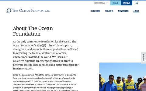 Screenshot of About Page oceanfdn.org - About - The Ocean Foundation - captured Oct. 14, 2019