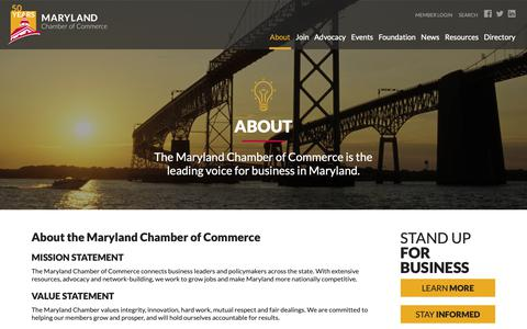 Screenshot of About Page mdchamber.org - Maryland Chamber of Commerce  |  About - captured Oct. 17, 2018