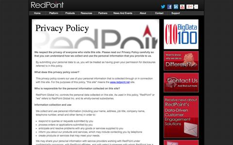 Screenshot of Privacy Page redpoint.net - Privacy Policy - captured Sept. 17, 2014