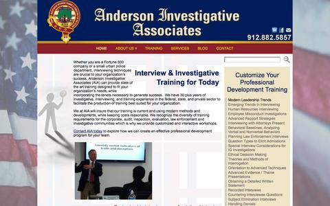 Screenshot of Home Page andersoninvestigative.com - Anderson Investigative - Training Workshops « Anderson Investigative Associates - captured Oct. 4, 2014