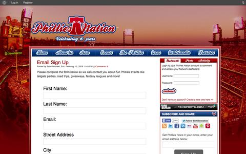 Screenshot of Signup Page philliesnation.com - Email Sign Up   Phillies Nation - captured Sept. 19, 2014