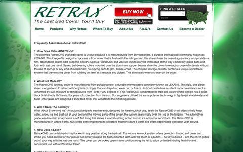 Screenshot of FAQ Page retrax.com - F.A.Q.'s | Retrax - captured Oct. 9, 2014