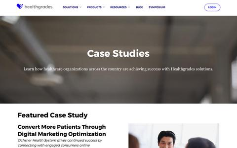 Screenshot of Case Studies Page healthgrades.com - Case Studies from Healthgrades | HS - captured July 23, 2018