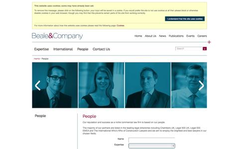 Screenshot of Team Page beale-law.com - Beale and Company People - captured Oct. 5, 2014