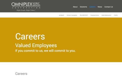 Screenshot of Jobs Page omniplex.com - Careers - OMNIPLEX World Services Corporation - captured Nov. 3, 2014